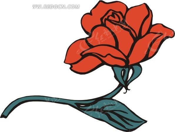 手绘一朵红色月季花矢量图_花草树木