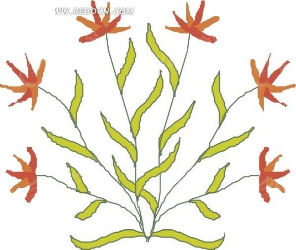手绘手掌形状的花朵