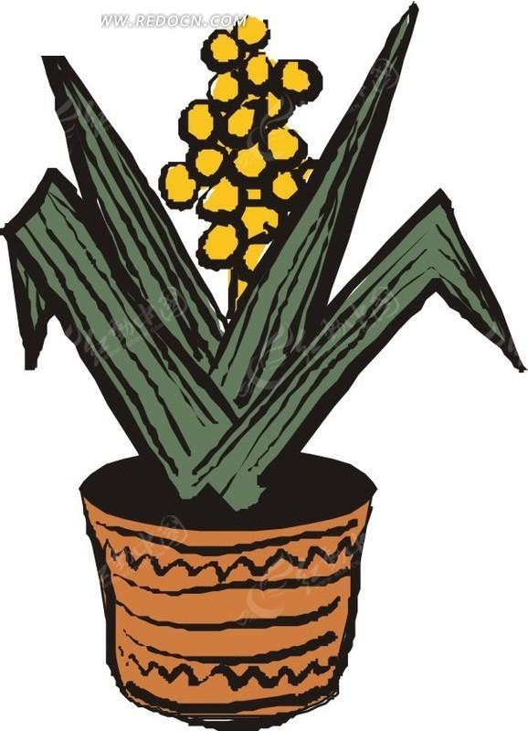 手绘花盆里的一串黄色花朵