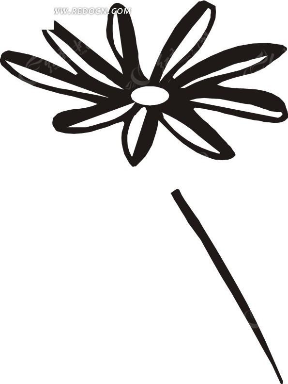 手绘黑色花茎上的黑白花朵