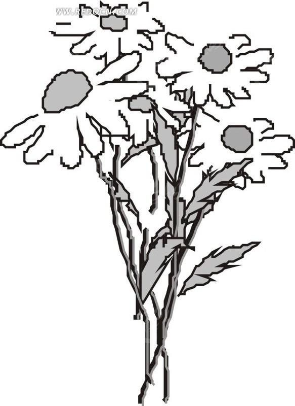 灰色叶茎 叶子 盛开的花朵 插画 手绘 矢量素材