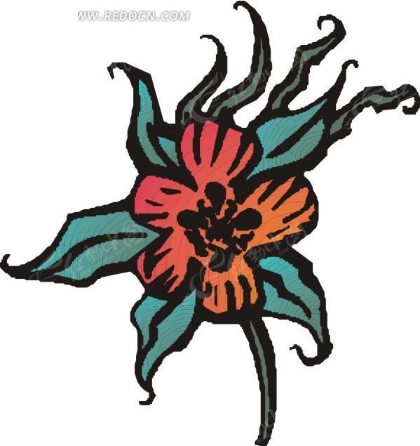红色花朵正面 叶子 卡通画 插画 手绘 矢量素材