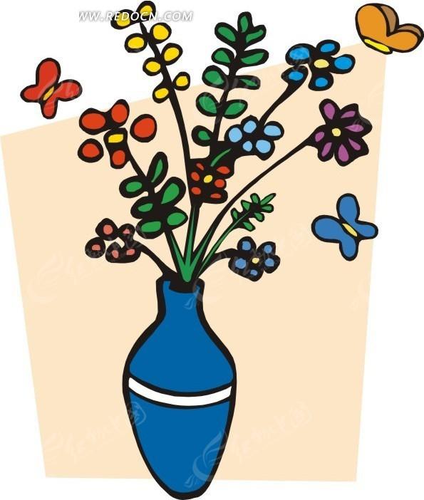 蓝色花朵 紫色花朵 黄色蝴蝶 红色蝴蝶 蝴蝶 卡通画 插画 手绘 矢量