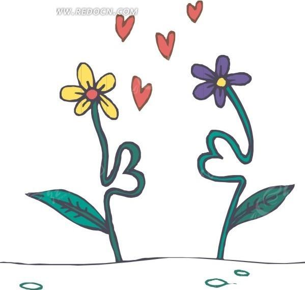 手绘心形花茎的花朵