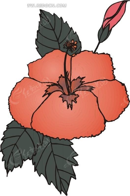 手绘红色花朵和墨绿色叶子