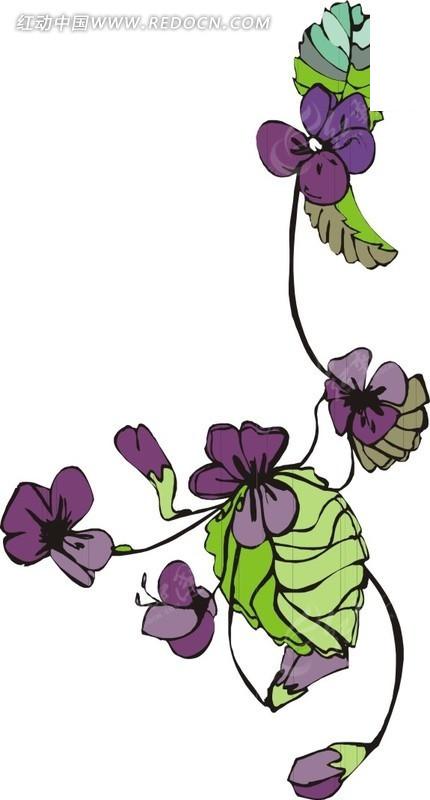 紫色手绘花朵矢量图_花草树木