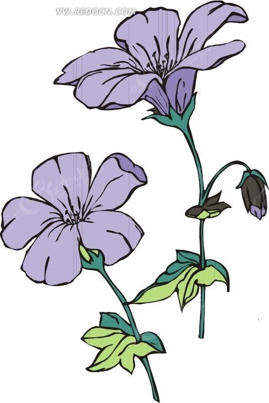 淡紫色手绘鲜花