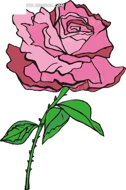 卡通玫瑰花手绘图
