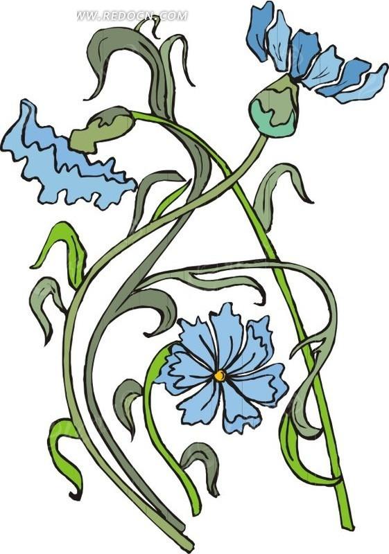 蓝色手绘花朵和绿叶