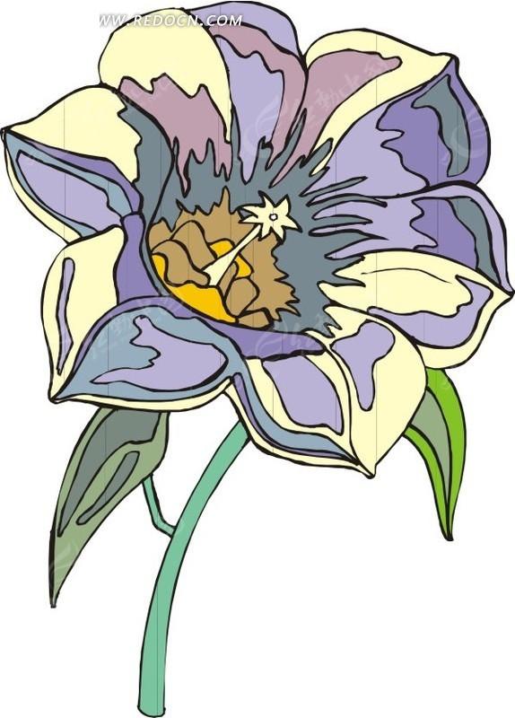 彩色花朵 花茎 鲜花 花 卡通画 插画 手绘 矢量素材