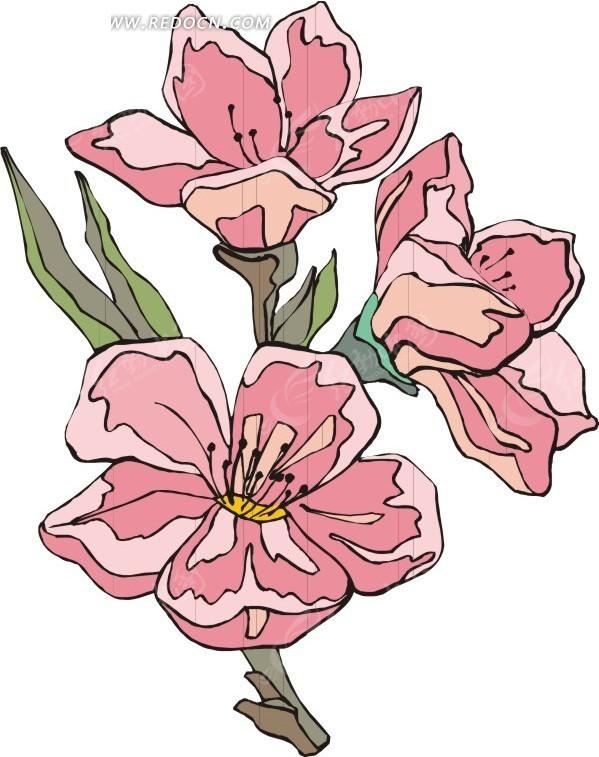 粉色花朵 绿叶 鲜花 花 卡通画 插画 手绘 矢量素材