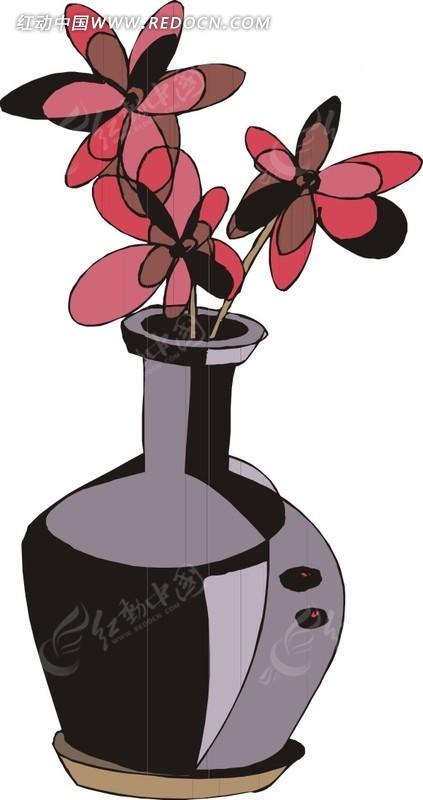 手绘花瓶插图图片