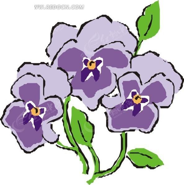 绿叶 叶子 盛开的花朵 美丽 紫色花朵 插画 手绘 矢量素材