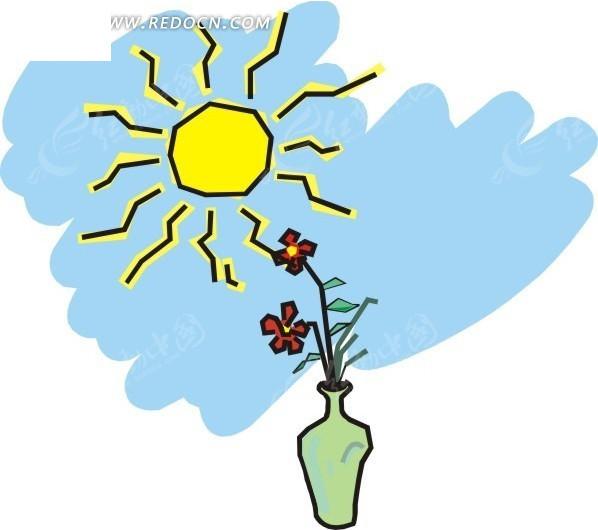 手绘太阳下花瓶里的花朵矢量图_花草树木