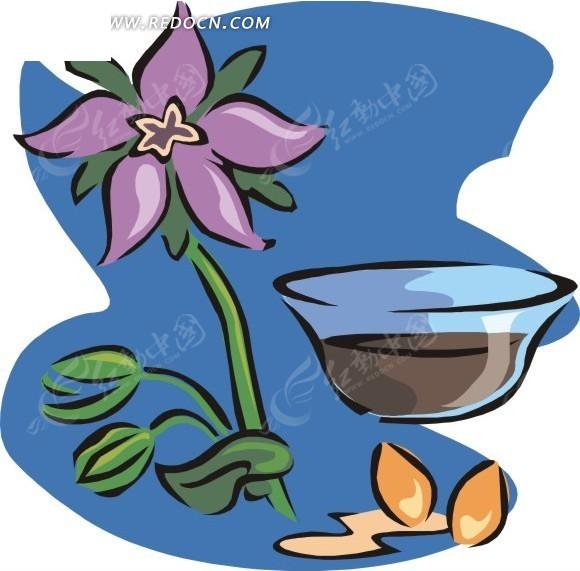 手绘紫色花朵和盆