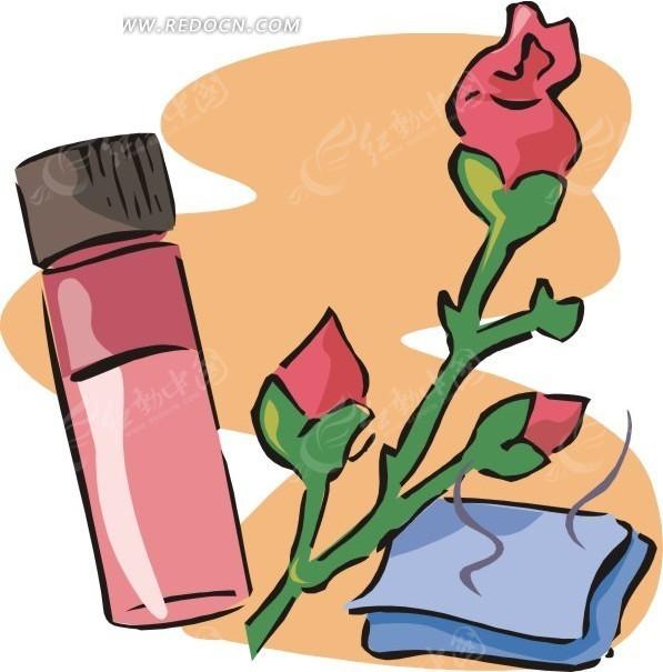 手绘玫瑰精油玫瑰花和毛巾