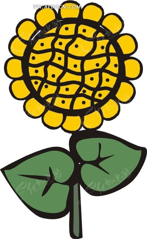 手绘黄色圆形花朵图片