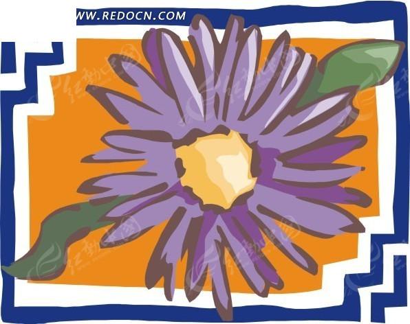 手绘蓝色框里的紫色非洲菊