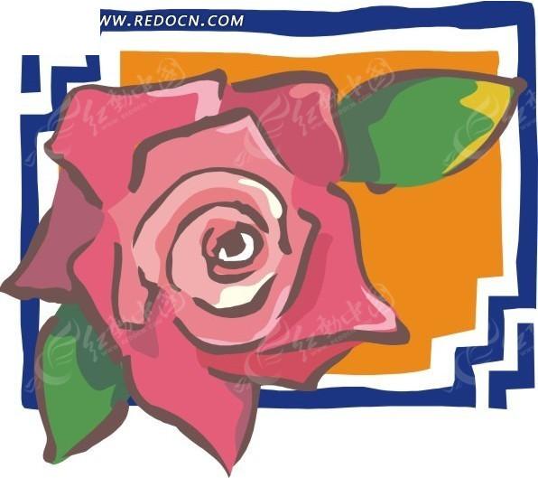 手绘画框粉色玫瑰