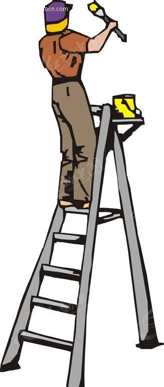 手绘站在梯子上刷墙的男人