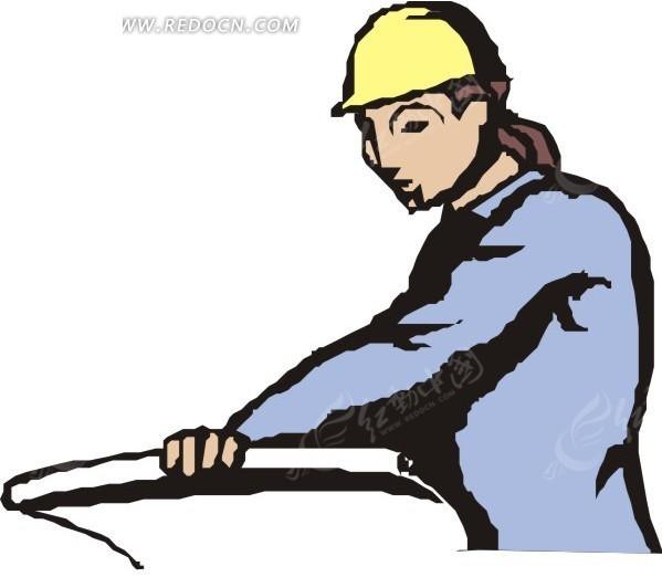 手绘正在看图纸的建筑工人
