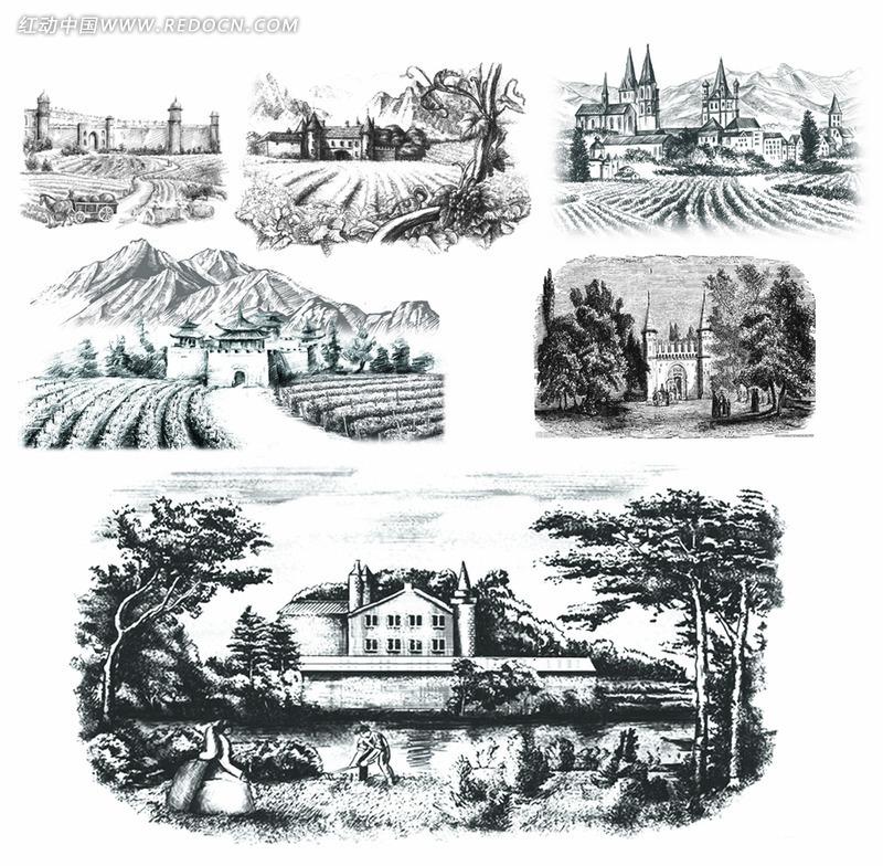 红酒设计素材—庄园城堡葡萄园