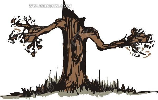 手绘 枯树 植物 植物图片 矢量素材 eps