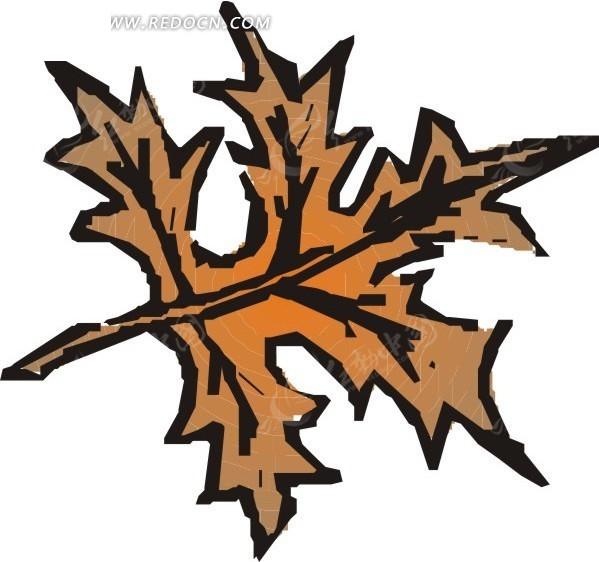 手绘褐色落叶图片