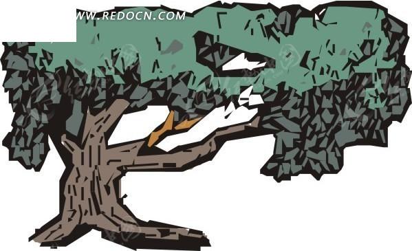 手绘树干粗壮的茂盛树木