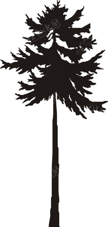 手绘树干笔直的黑色树木