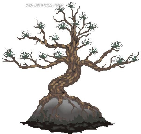 简单手绘图片花草树木-手绘石头上的古树EPS素材免费下载 编号