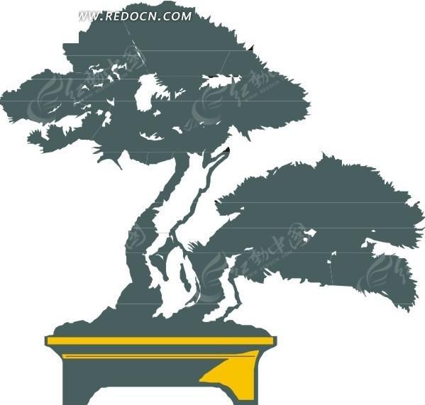 手绘卡通松树盆栽