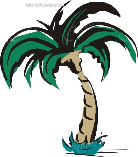 手绘树干弯曲的椰子树