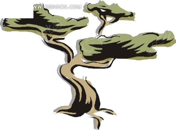手绘树干弯曲的树木