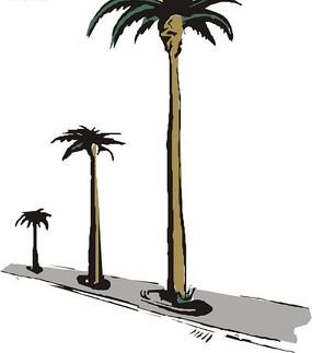 笔直的棕榈树卡通画