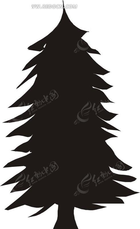 茂盛的松树线描图