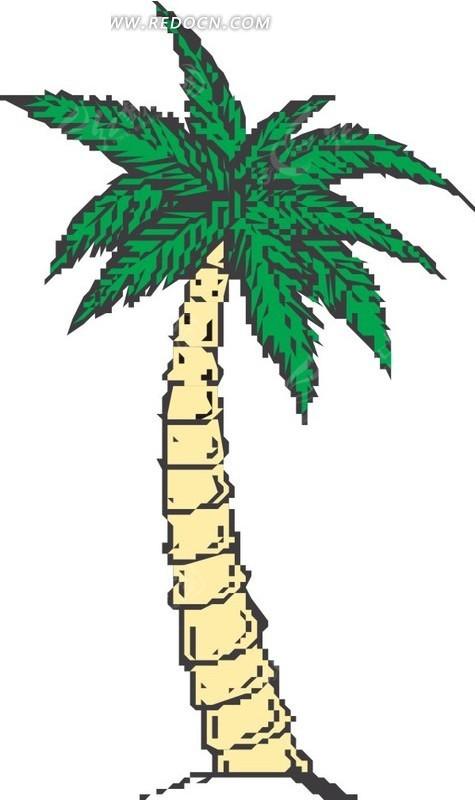 手绘黄色树干的椰子树