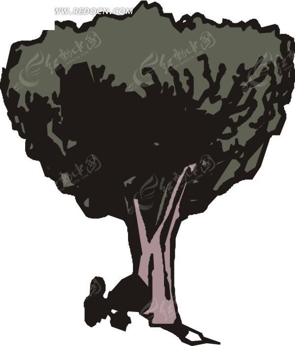 手绘紫色树干的茂盛树木