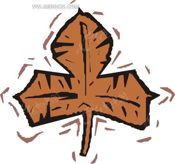 手绘褐色的树叶
