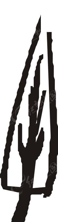 手绘三角形黑色轮廓的树木