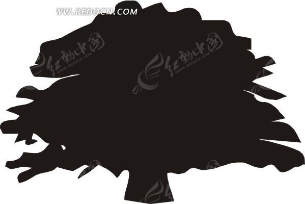 手绘黑色低矮茂盛的树木eps免费下载_花草树木素材
