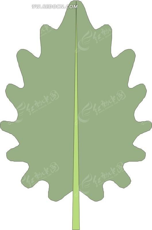 齿轮状绿叶 树叶 植物 卡通画 插画 手绘 矢量素材