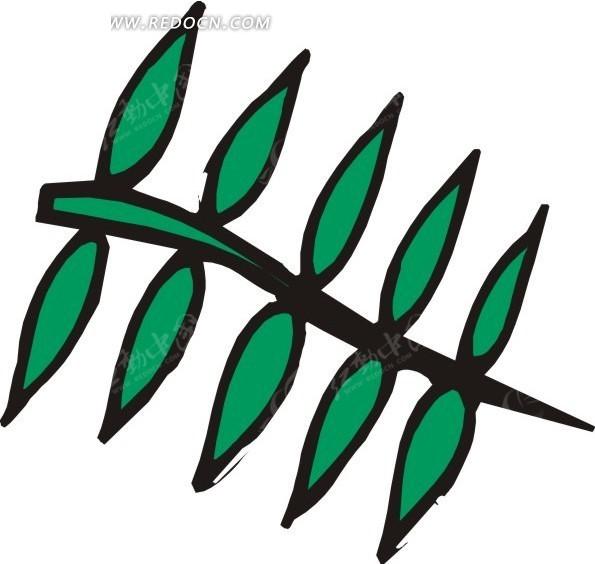 手绘藤蔓上绿叶