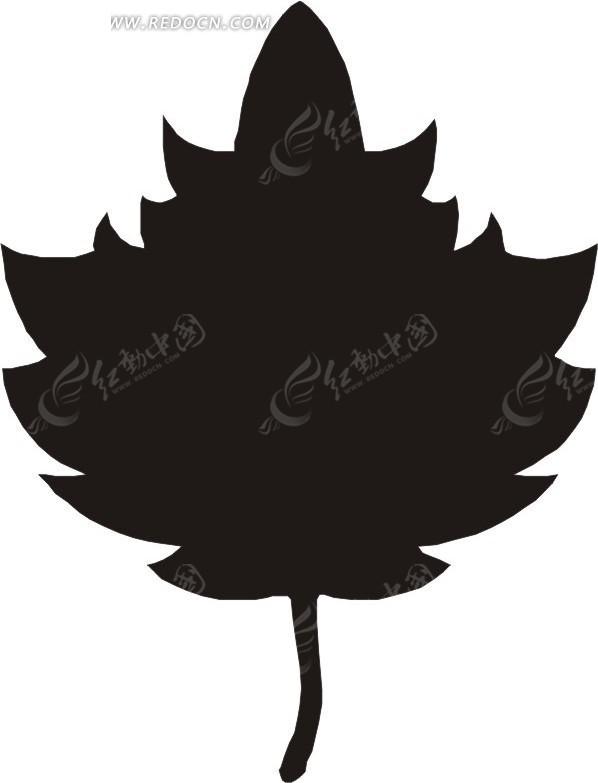 手绘锯齿状边缘的黑色叶子图片