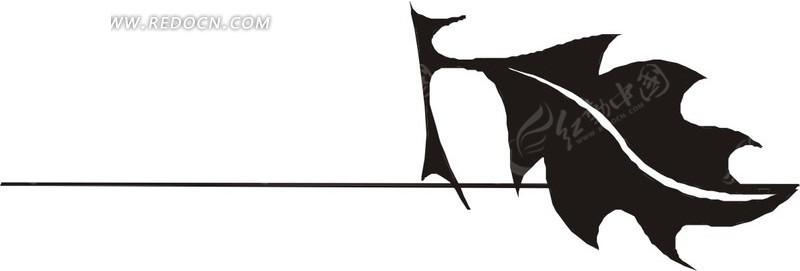 手绘白色叶脉和黑色叶子