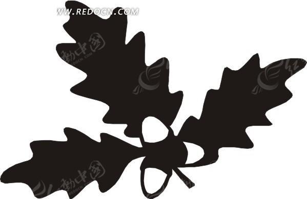 手绘黑色叶子和果子