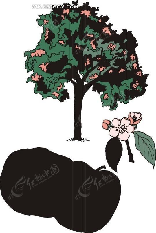 手绘茂盛的苹果树