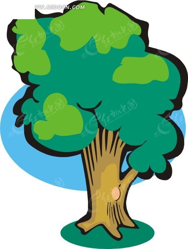手绘棕色树干的茂盛树木
