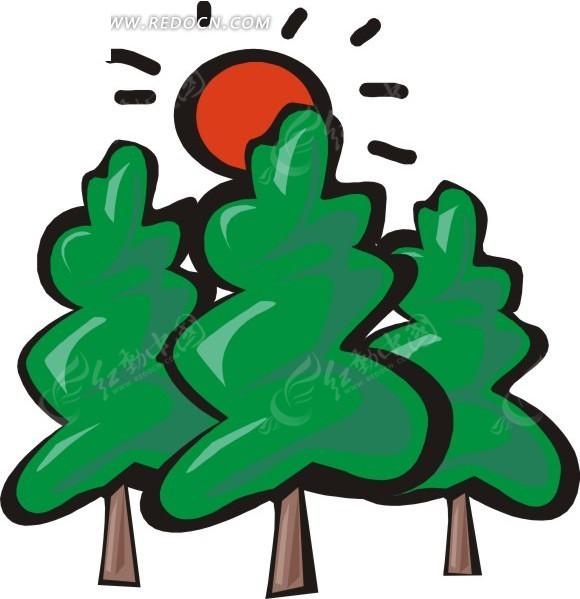 阳光下的大树卡通画