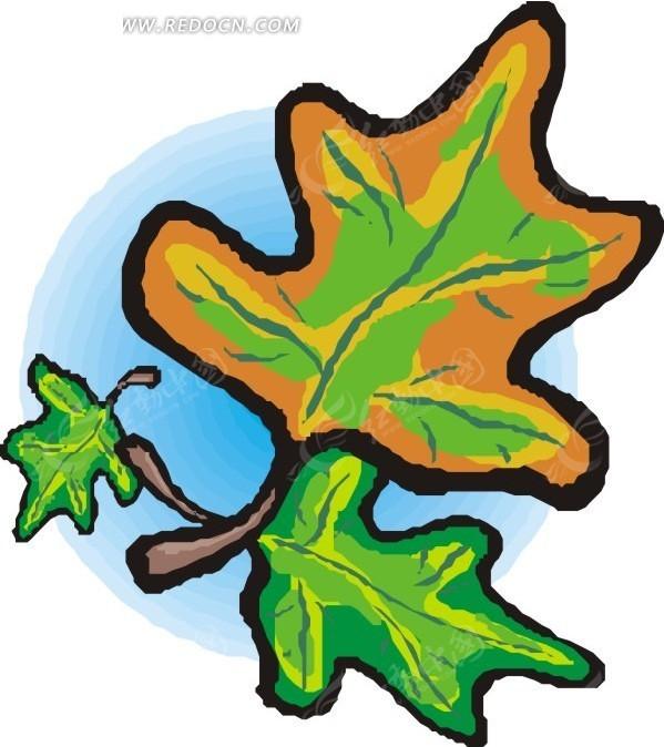 手绘橙色和绿色的叶子图片